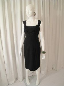 Early 1960's Black satin backed crepe vintage dress.